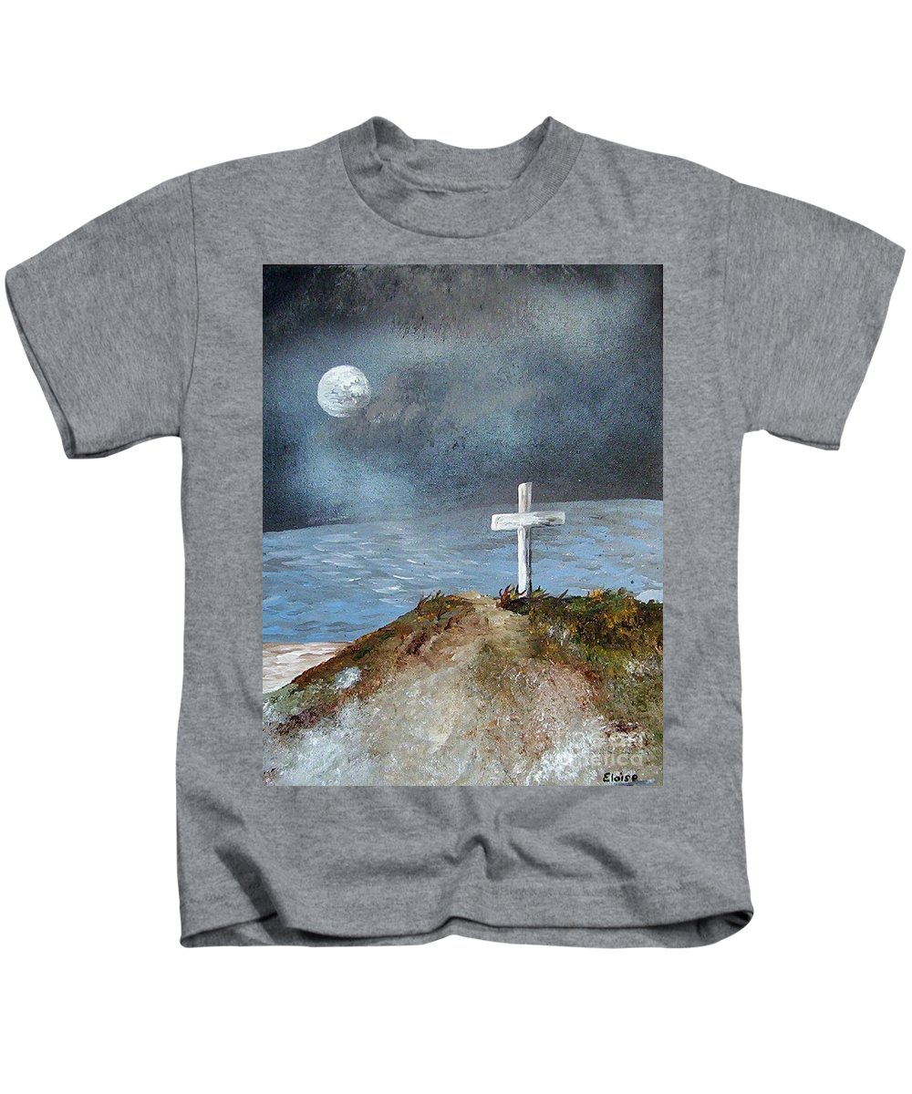 Cross Kids T-Shirt featuring the painting Pensacola Beach By The Light Of The Moon by Eloise Schneider Mote