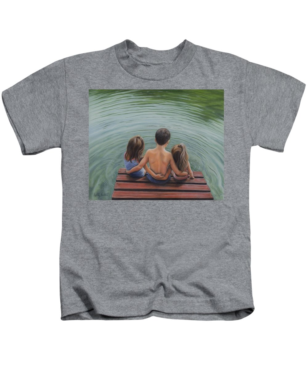Realistic Kids T-Shirt featuring the painting Pier Delight by Holly Kallie
