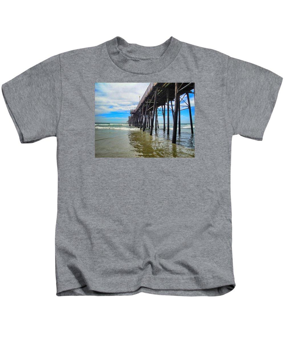 Beach Kids T-Shirt featuring the photograph Pier Out by Myda Muckala