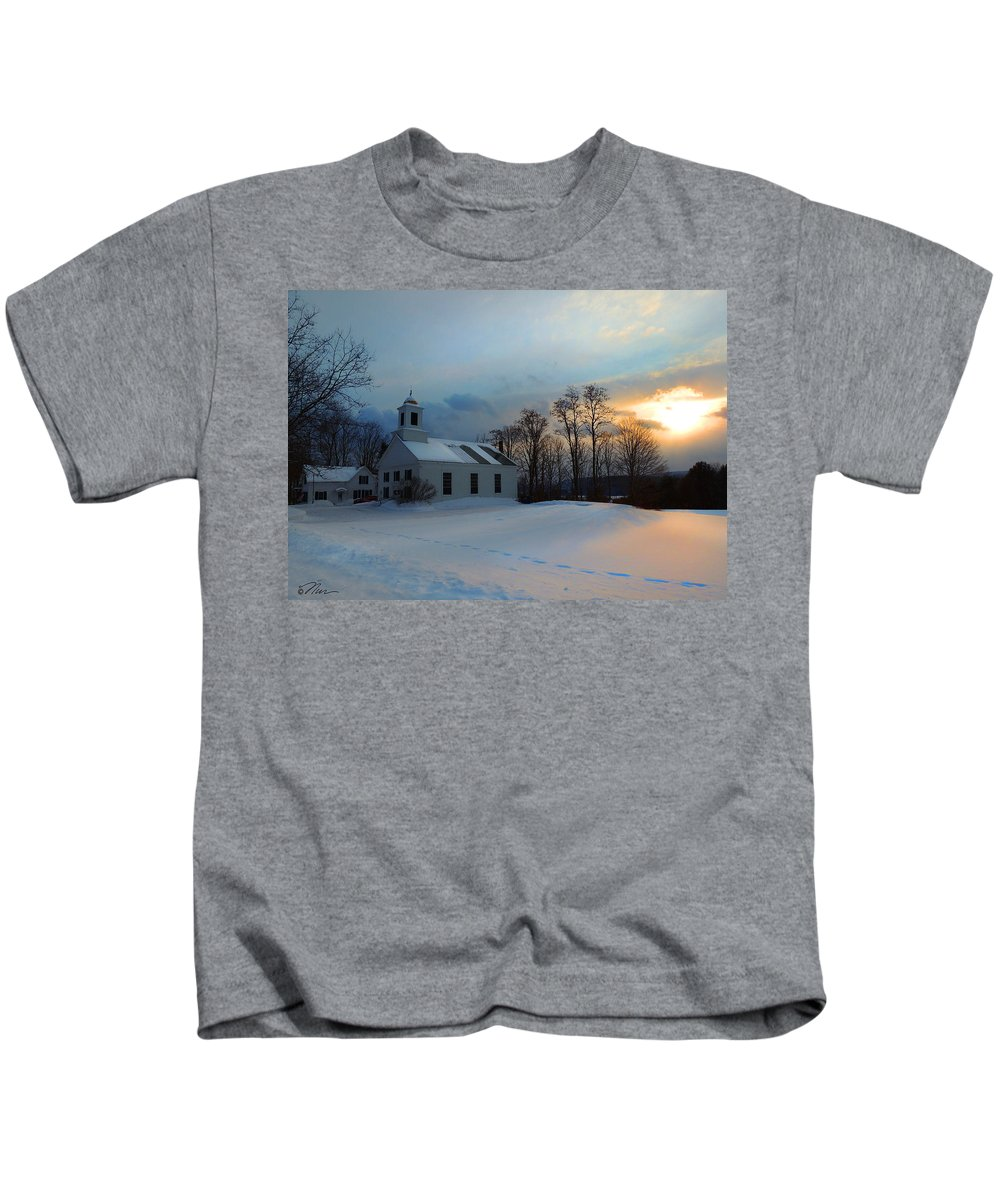 Church Kids T-Shirt featuring the photograph Piermont Church In Winter Light by Nancy Griswold