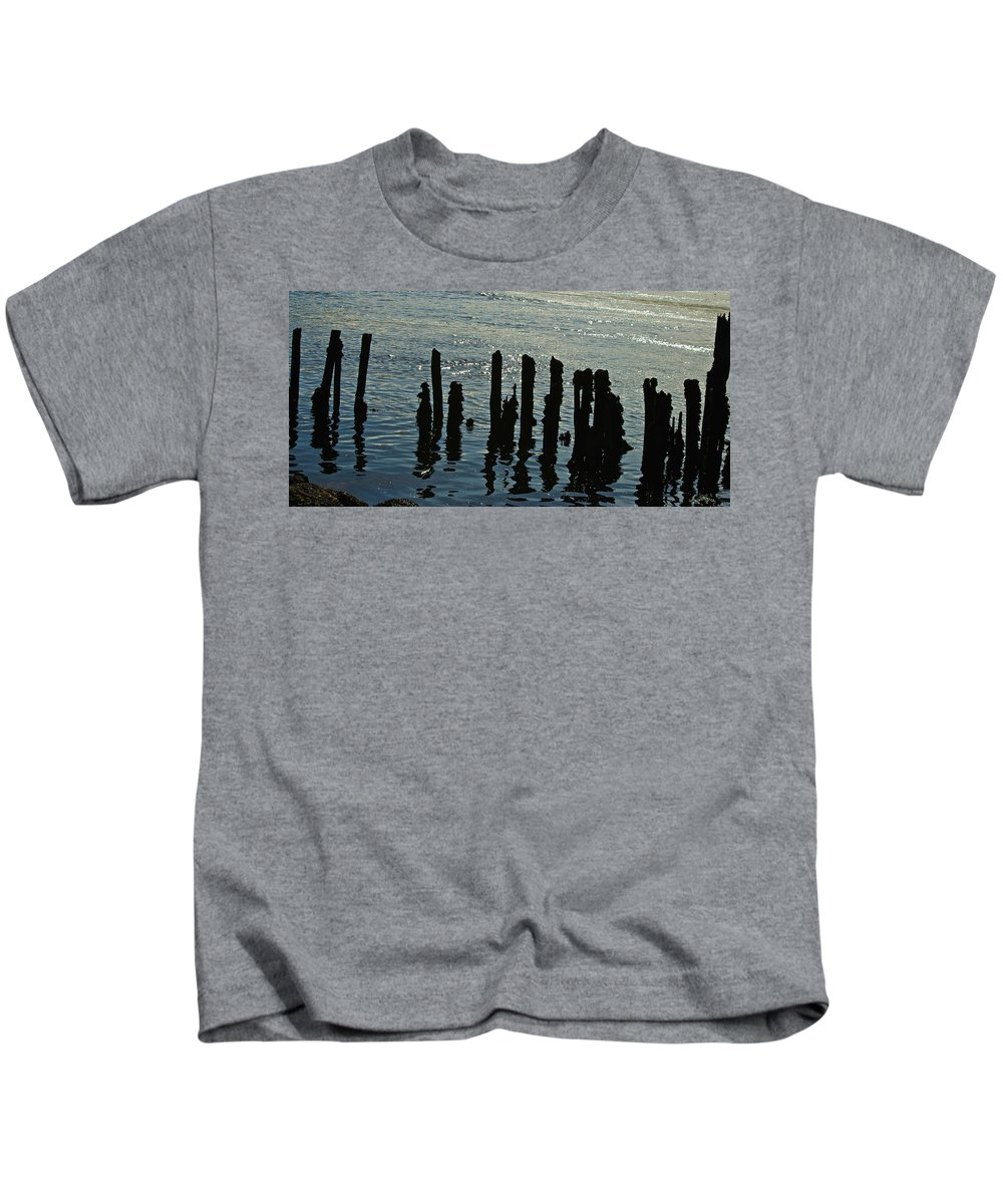 New England Photographs Kids T-Shirt featuring the photograph Pilings by Gary Benson