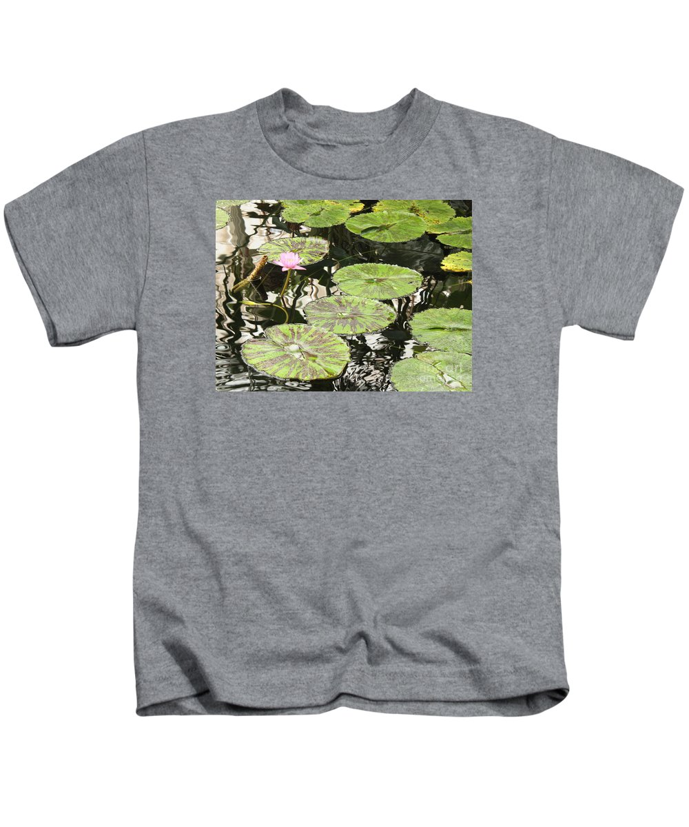 Pond Kids T-Shirt featuring the photograph One Pink Water Lily With Lily Pads by Carol Groenen