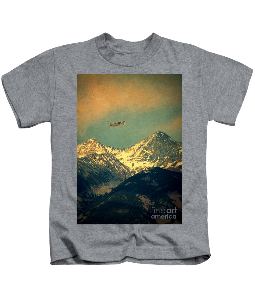 Mountains Kids T-Shirt featuring the photograph Plane Flying Over Mountains by Jill Battaglia