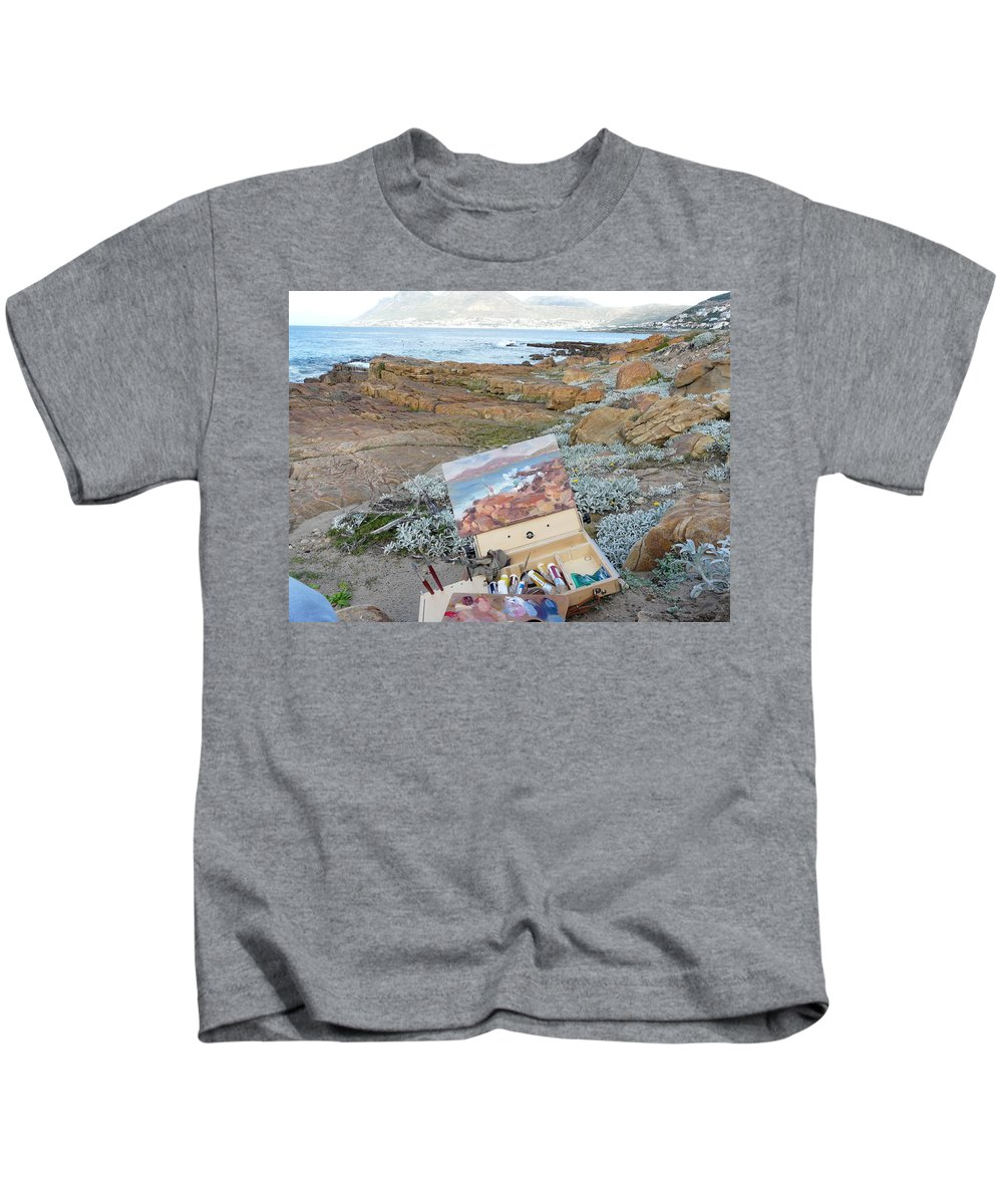 Kids T-Shirt featuring the painting Plein Air Glencairn by Yvonne Ankerman