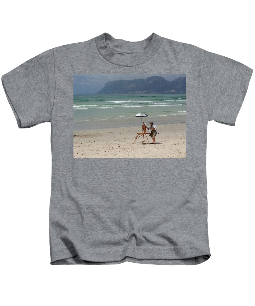 Kids T-Shirt featuring the drawing Plein Air by Yvonne Ankerman