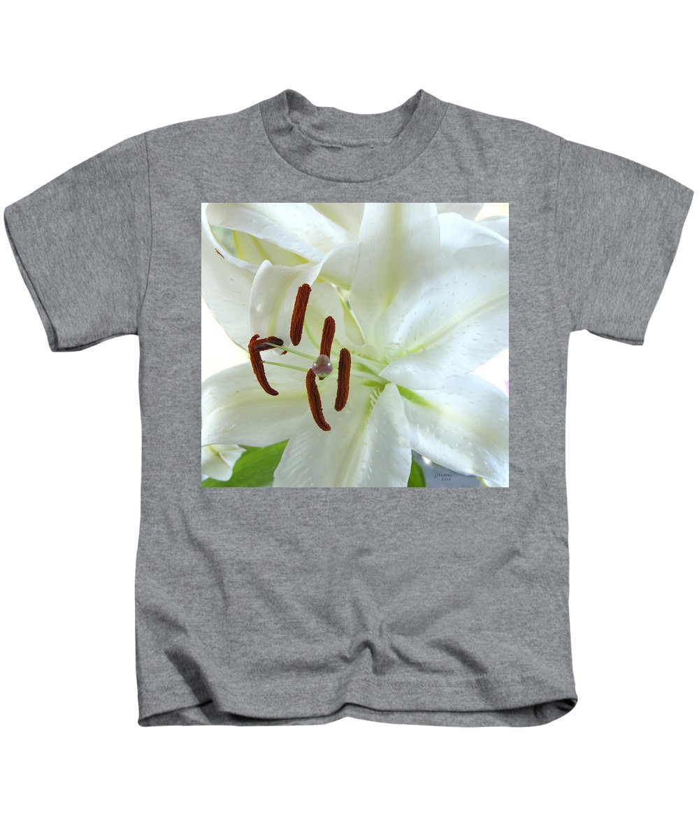 Photography Kids T-Shirt featuring the photograph Pollinated White Tiger Lily by Julianne Felton