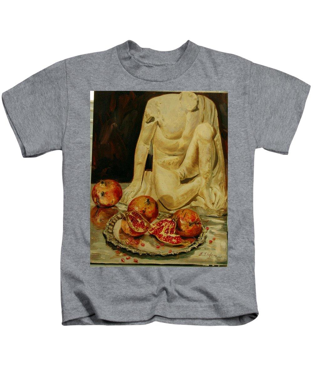 Pomegranate Kids T-Shirt featuring the painting Pomegranate by Sefedin Stafa