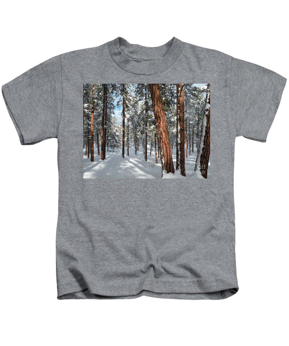 Ponderosa Kids T-Shirt featuring the photograph Ponderosa Winter by Jennifer Lake
