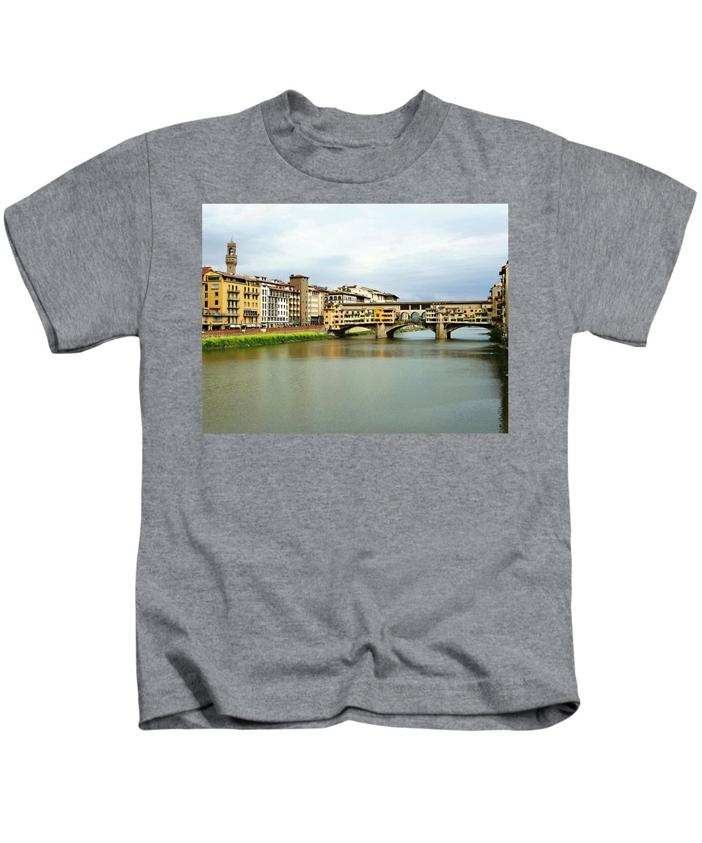 Ponte Vecchio Kids T-Shirt featuring the photograph Ponte Vecchio 1 by Ellen Henneke