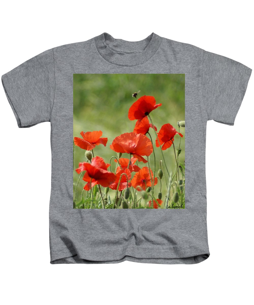 Poppies Kids T-Shirt featuring the photograph Poppies 1 by Carol Lynch