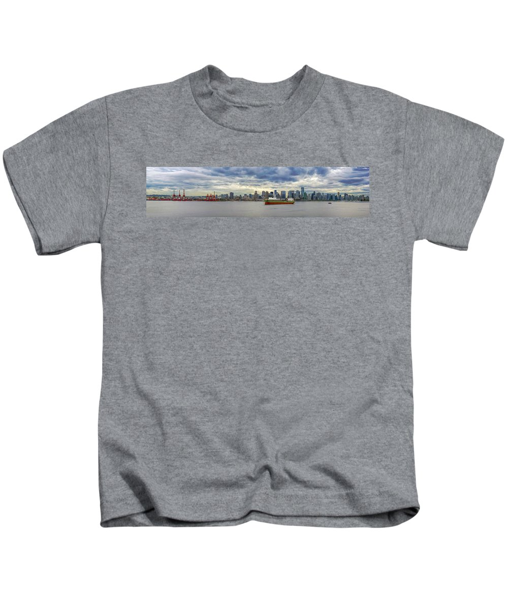 Port Of Vancouver Kids T-Shirt featuring the photograph Port Of Vancouver Bc Panorama by Jit Lim