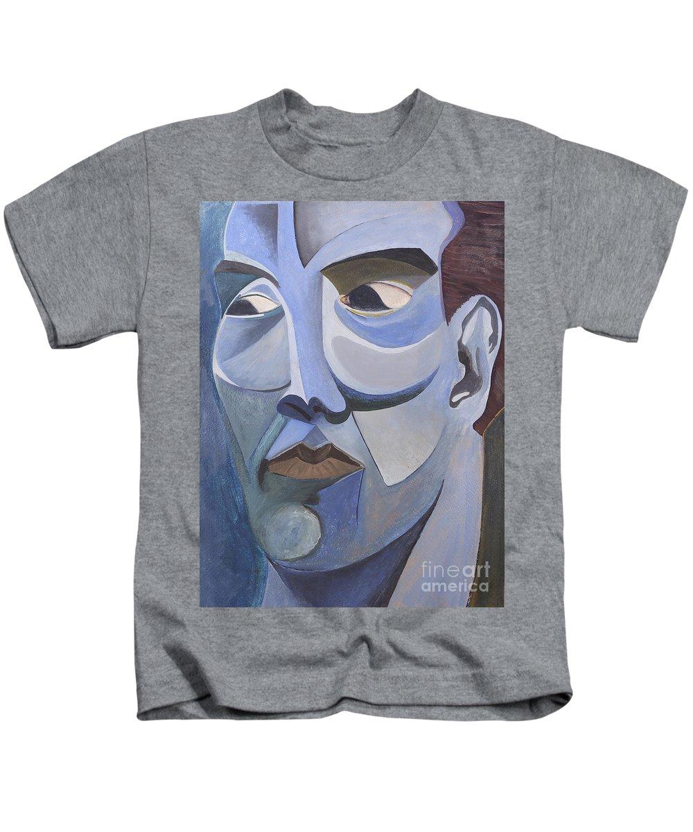 Portrait Kids T-Shirt featuring the painting Portrait In Blue by Aaron Joslin