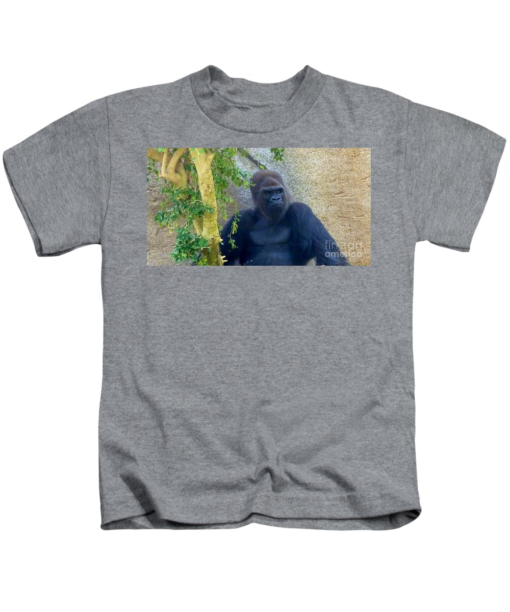 Female Grandmother Gorilla Kids T-Shirt featuring the photograph Powerful Female Gorilla by Susan Garren