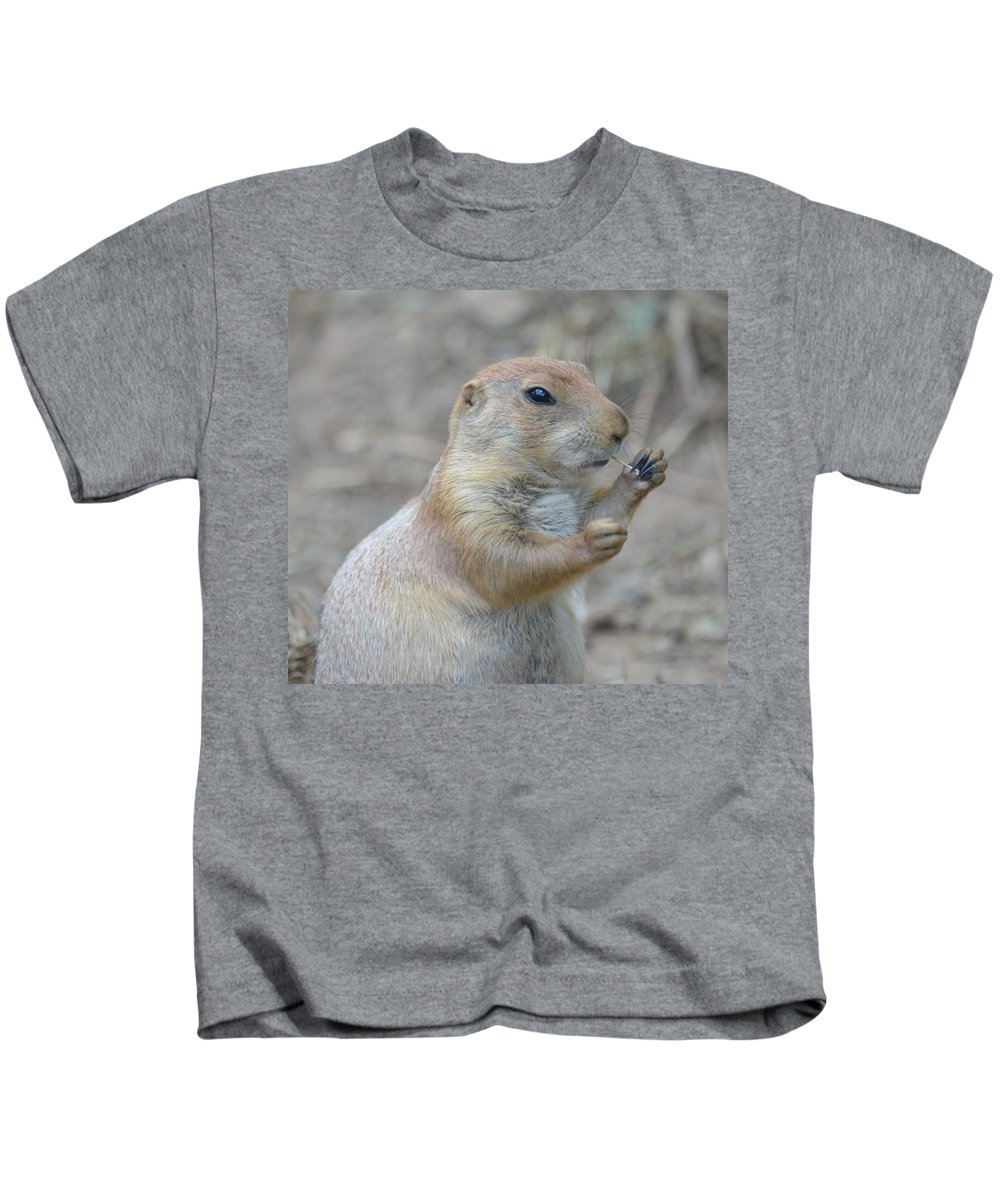 Prairie Kids T-Shirt featuring the photograph Prairie Dog Cleaning His Teeth by Richard Bryce and Family