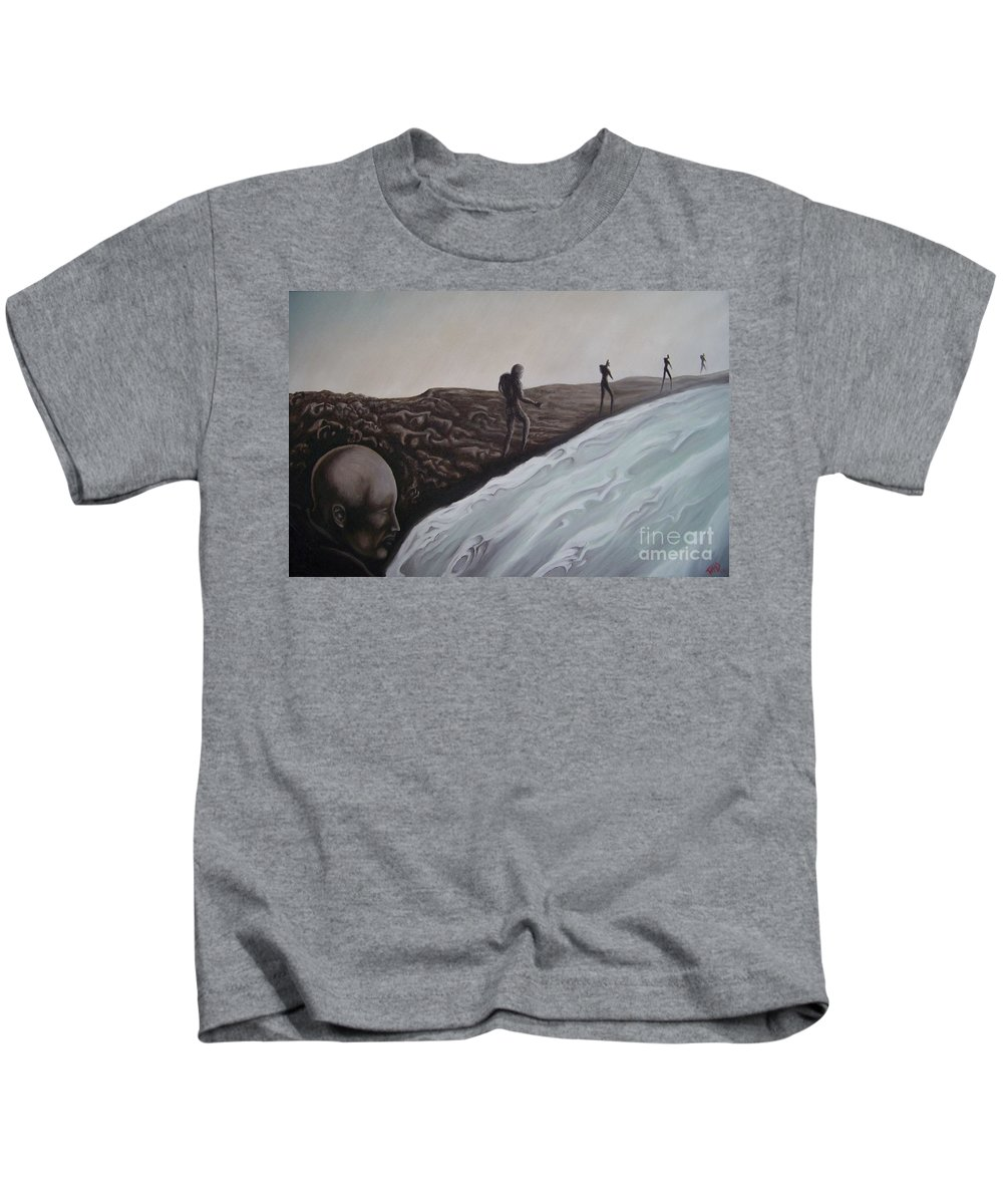 Tmad Kids T-Shirt featuring the painting Premonition by Michael TMAD Finney