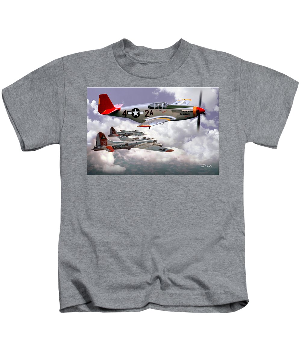 Redtails Kids T-Shirt featuring the photograph Protecting The Heavies by Craig Purdie