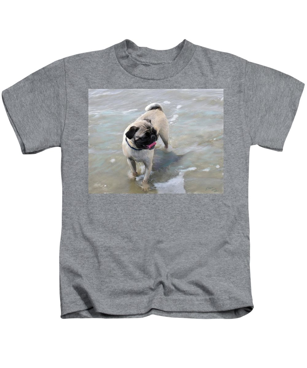 Pug Kids T-Shirt featuring the painting Puggy Beach Bum by Shere Crossman