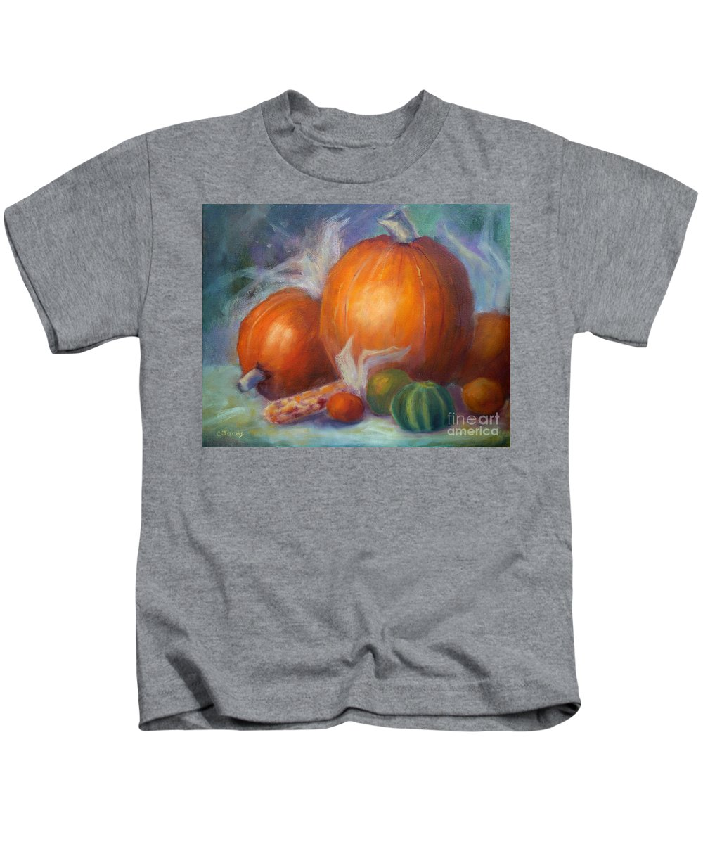 Pumpkin Kids T-Shirt featuring the painting Pumpkins And Corn by Carolyn Jarvis