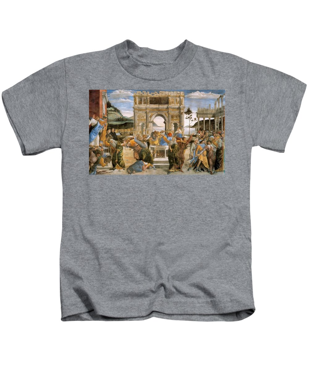 1481-1482 Kids T-Shirt featuring the painting Punishment Of Korah And Dathan And Abiram by Sandro Botticelli