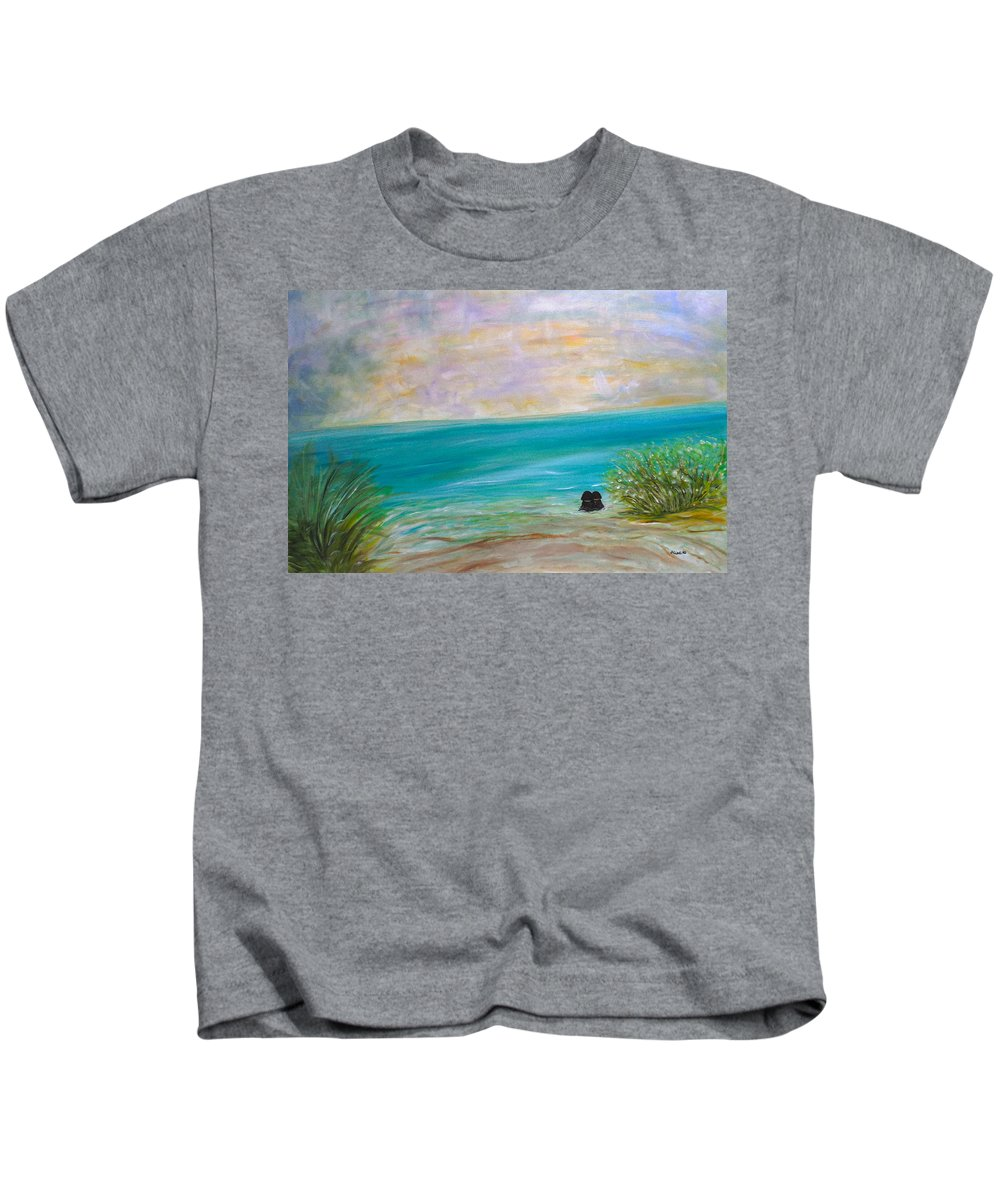Whimsical Water-scape Kids T-Shirt featuring the painting Puppy Love by Sara Credito