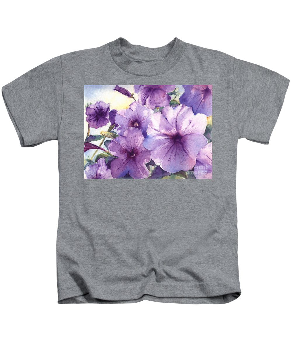 Purple Kids T-Shirt featuring the painting Purple Profusion by Patricia Henderson