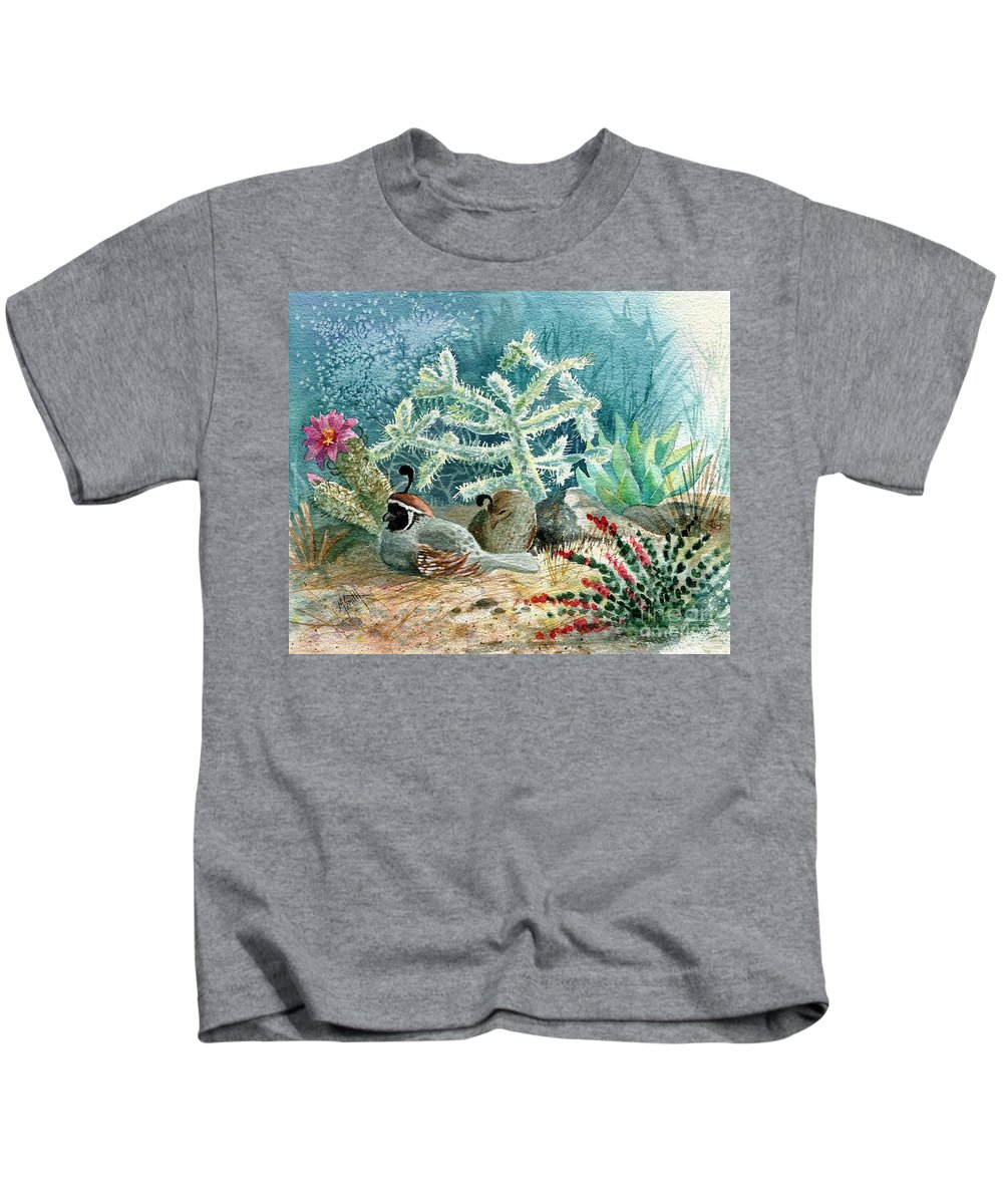Gambel's Quail Kids T-Shirt featuring the painting Quail At Rest by Marilyn Smith