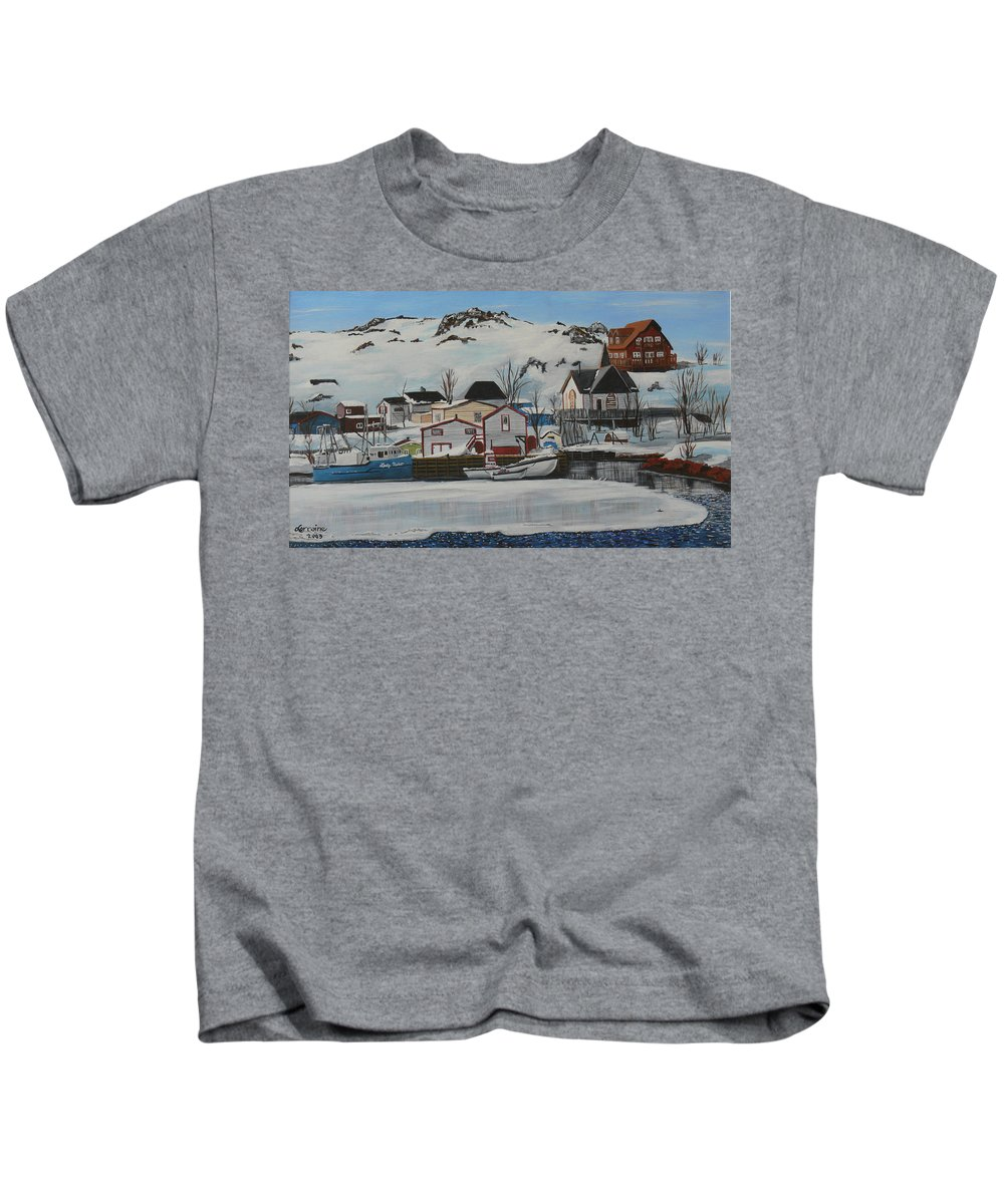 Nl Kids T-Shirt featuring the painting Quidi Vidi Morn by Lorraine Vatcher