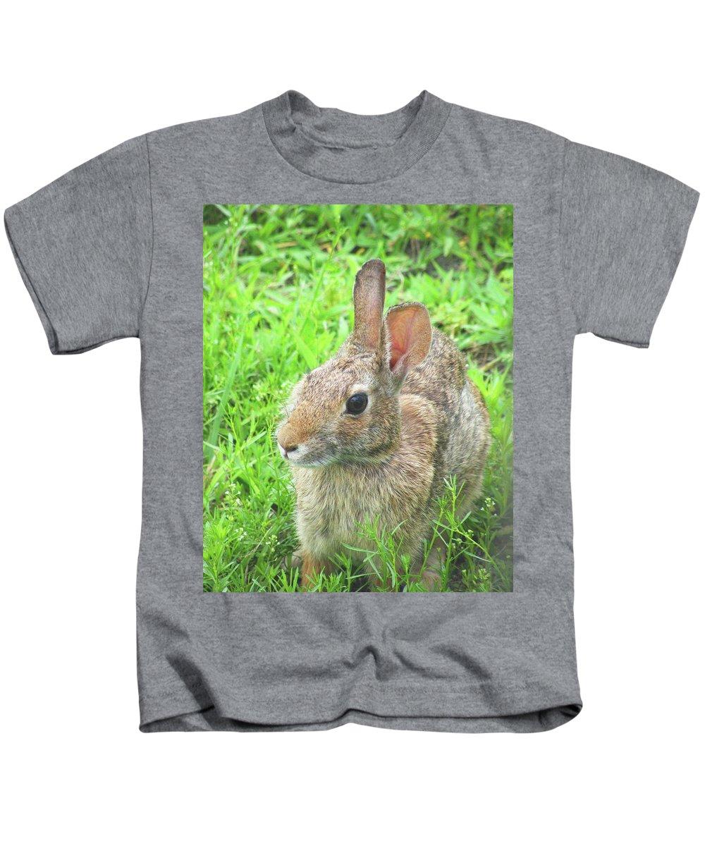 Rabbit Kids T-Shirt featuring the digital art Rabbit by Lizi Beard-Ward