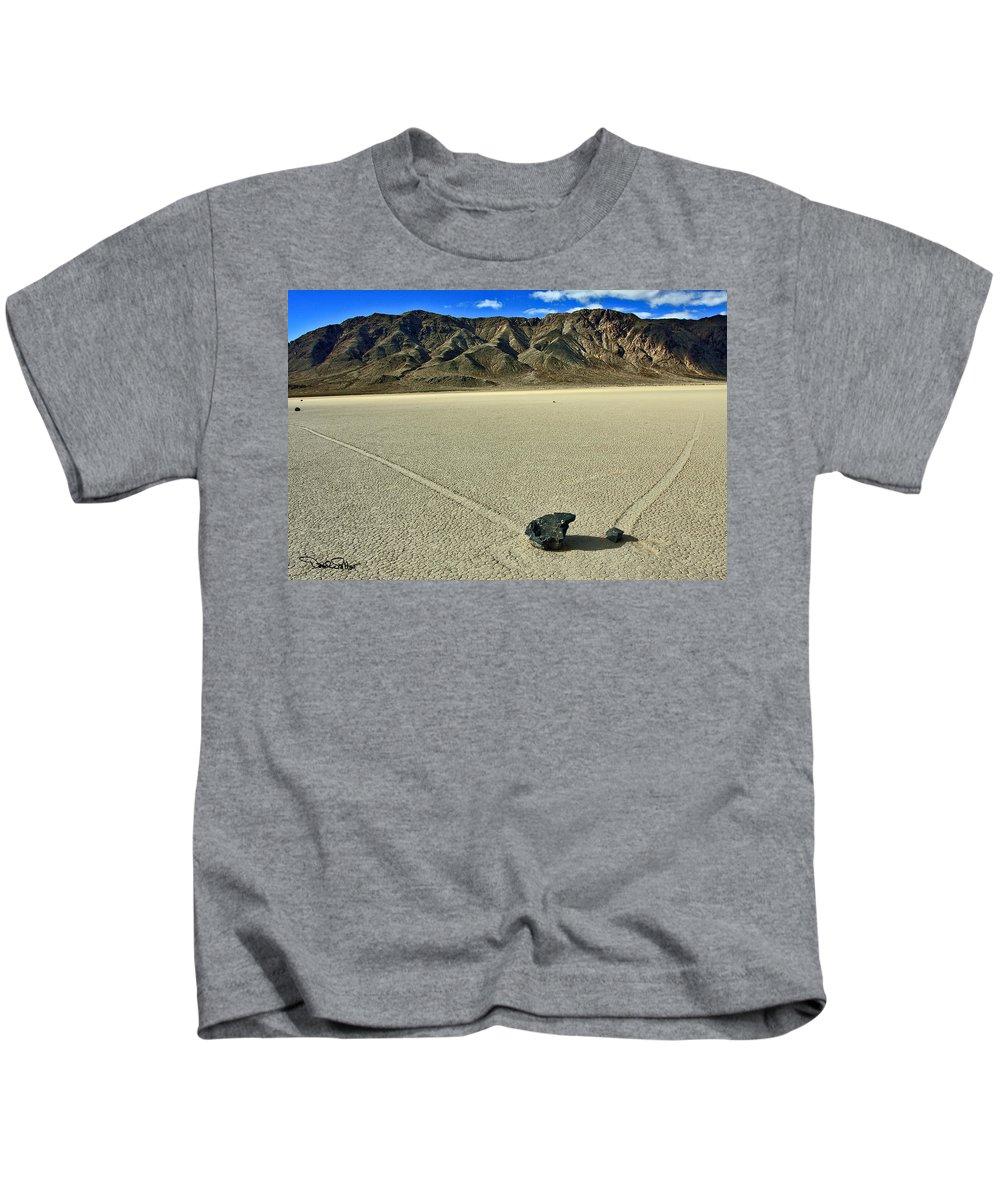 Landscape. Racetrack Playa Kids T-Shirt featuring the photograph Racetrack Playa by David Salter