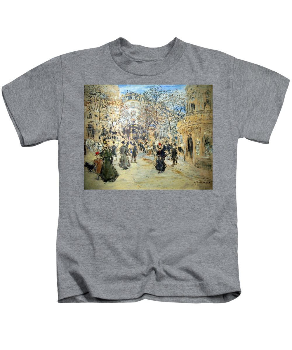 The Boulevard Kids T-Shirt featuring the photograph Raffaelli's The Boulevard by Cora Wandel