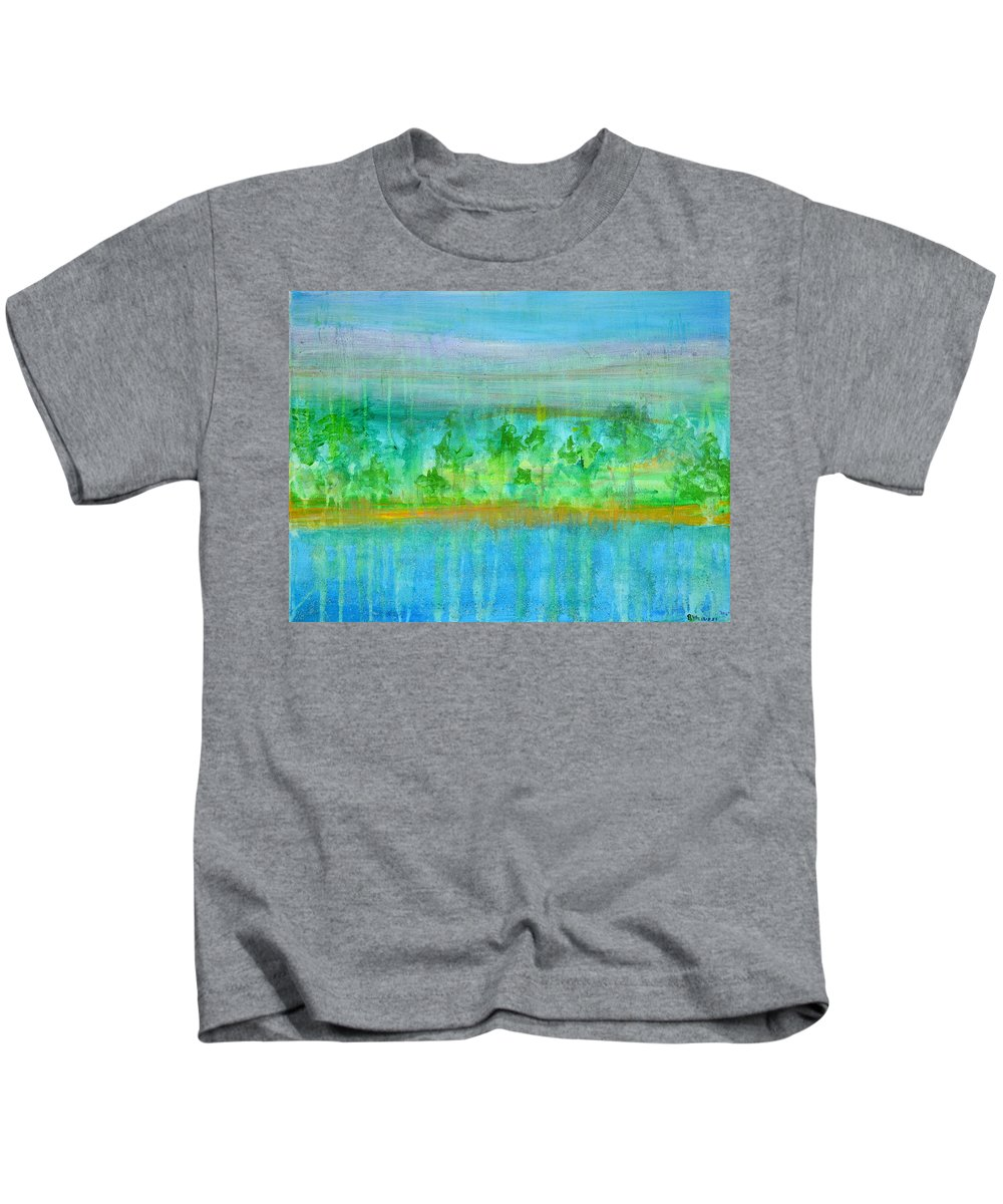 Rain Kids T-Shirt featuring the painting Rain Original Contemporary Acrylic Painting On Canvas by Regina Valluzzi