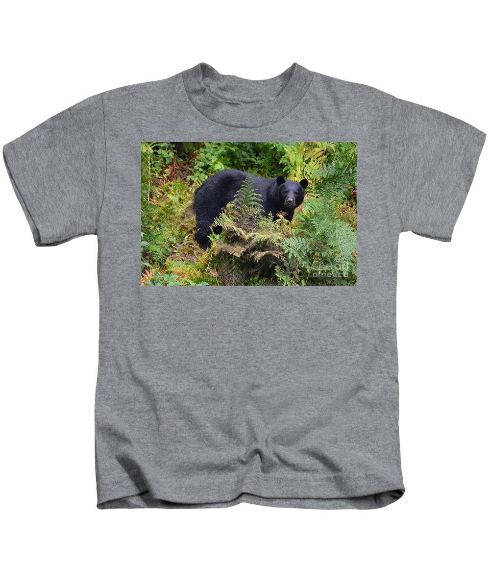 Bear Kids T-Shirt featuring the photograph Rainforest Black Bear by Deanna Cagle