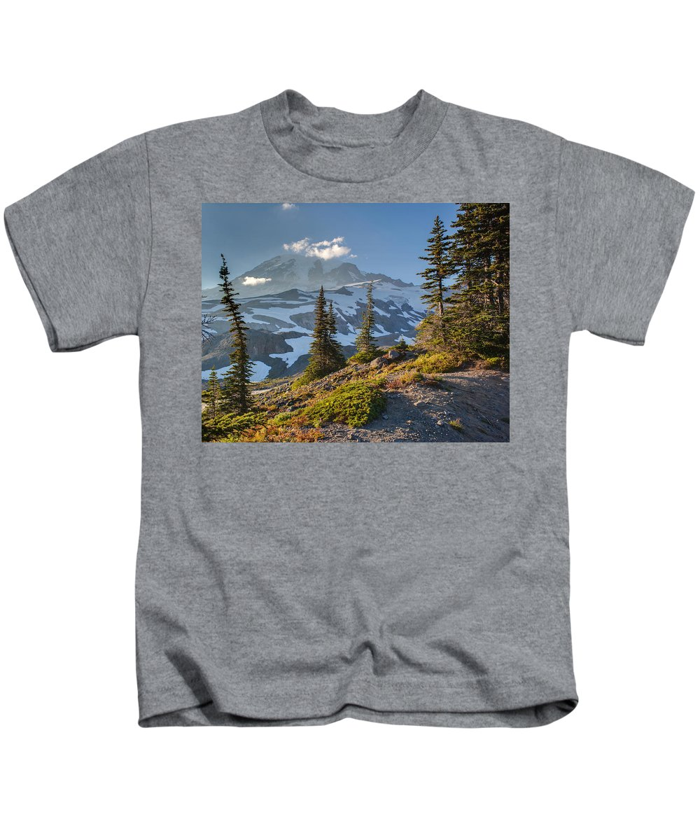 Rainier Kids T-Shirt featuring the photograph Rainier From Paradise Glacier by Mike Reid