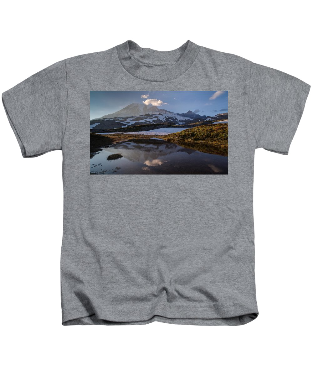 Rainier Kids T-Shirt featuring the photograph Rainier Reflected In A Glacial Tarn by Mike Reid