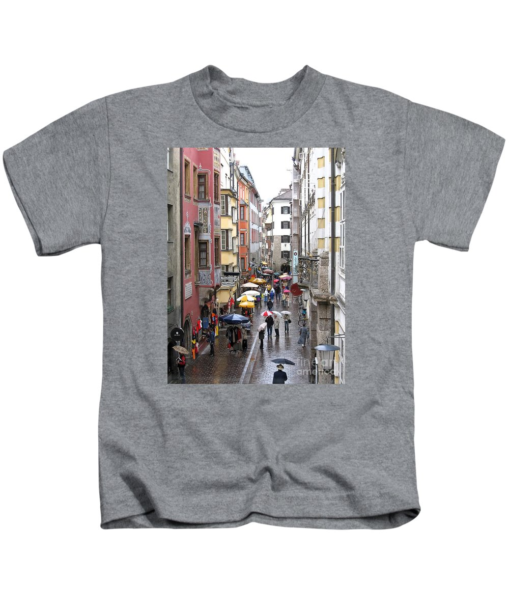Innsbruck Kids T-Shirt featuring the photograph Rainy Day Shopping by Ann Horn