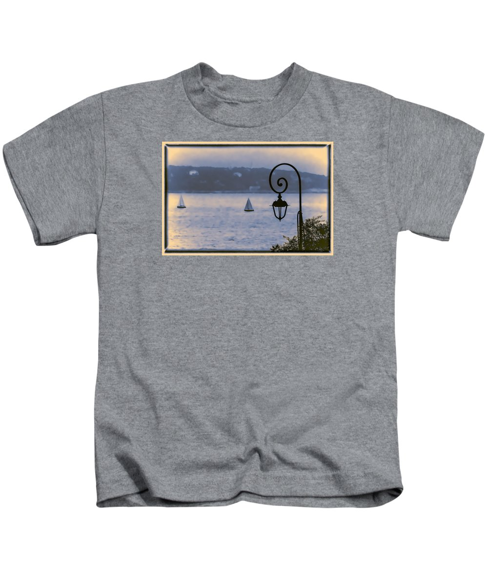 Blue Kids T-Shirt featuring the photograph Rainy Sail by Maria Coulson