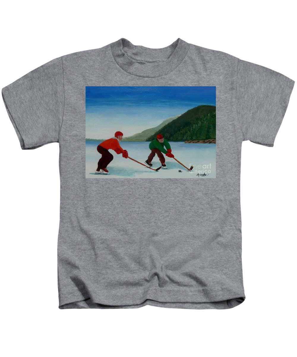 Pond Kids T-Shirt featuring the painting Reach For It by Anthony Dunphy