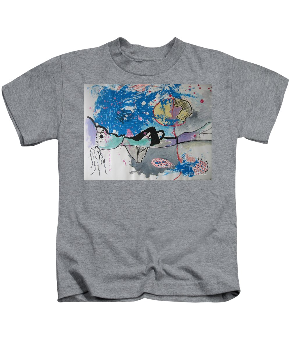 Abstract Paintings Kids T-Shirt featuring the painting Read My Mind2 by Seon-Jeong Kim