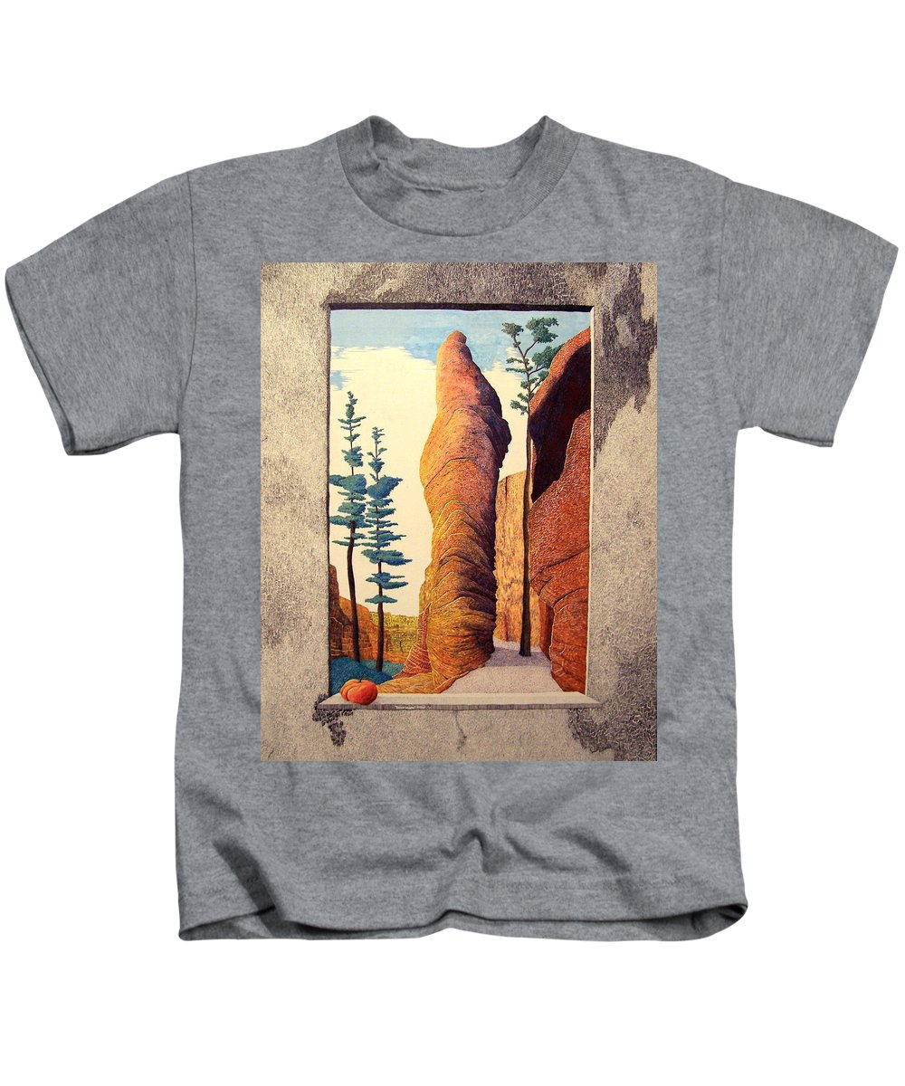 Landscape Kids T-Shirt featuring the painting Reared Window by A Robert Malcom