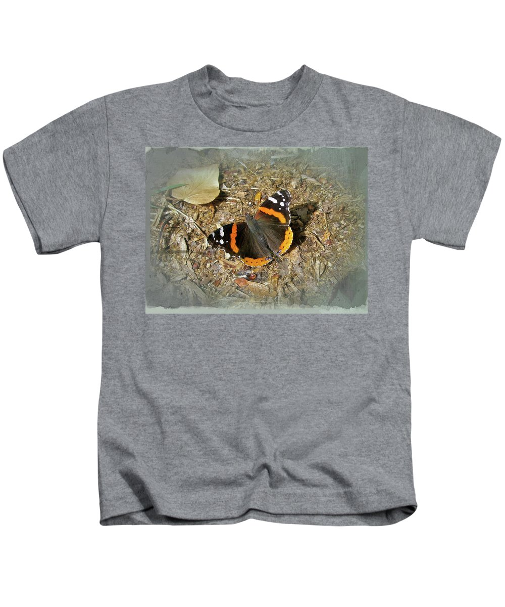 Butterfly Kids T-Shirt featuring the photograph Red Admiral Butterfly - Vanessa Atalanta by Mother Nature