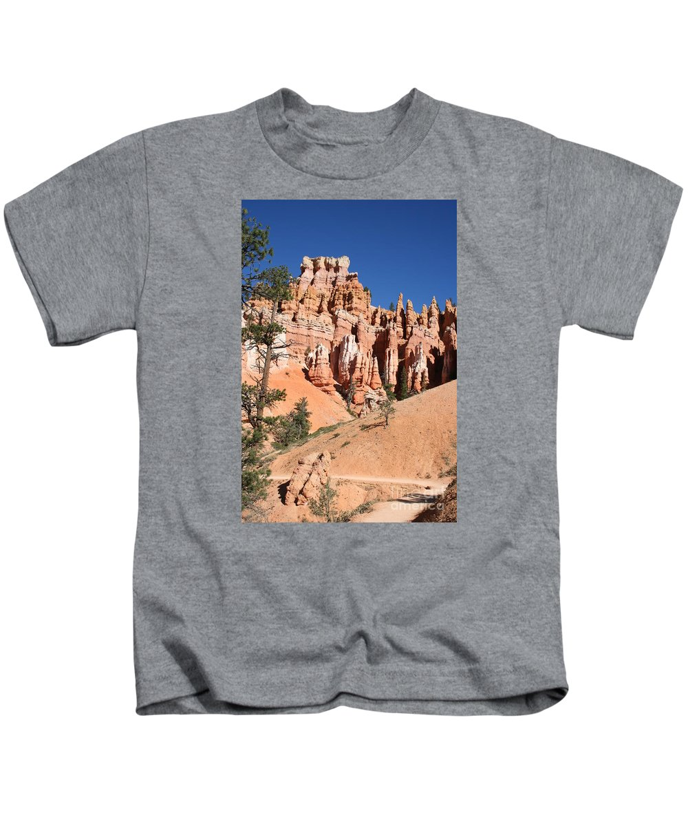 Canyon Kids T-Shirt featuring the photograph Red And White Rocks - Bryce Canyon by Christiane Schulze Art And Photography