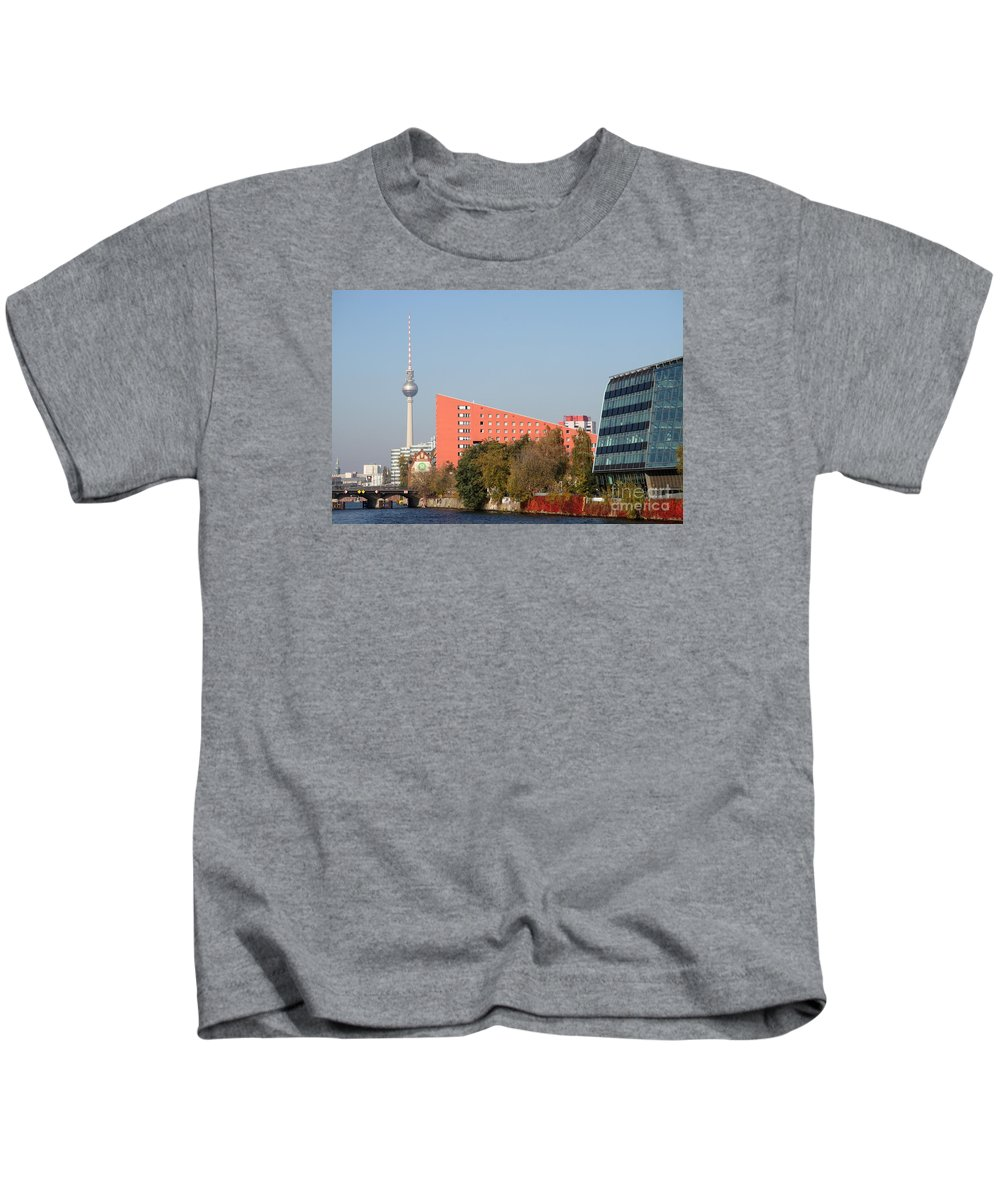 River Kids T-Shirt featuring the photograph Red Building And Alex by Christiane Schulze Art And Photography