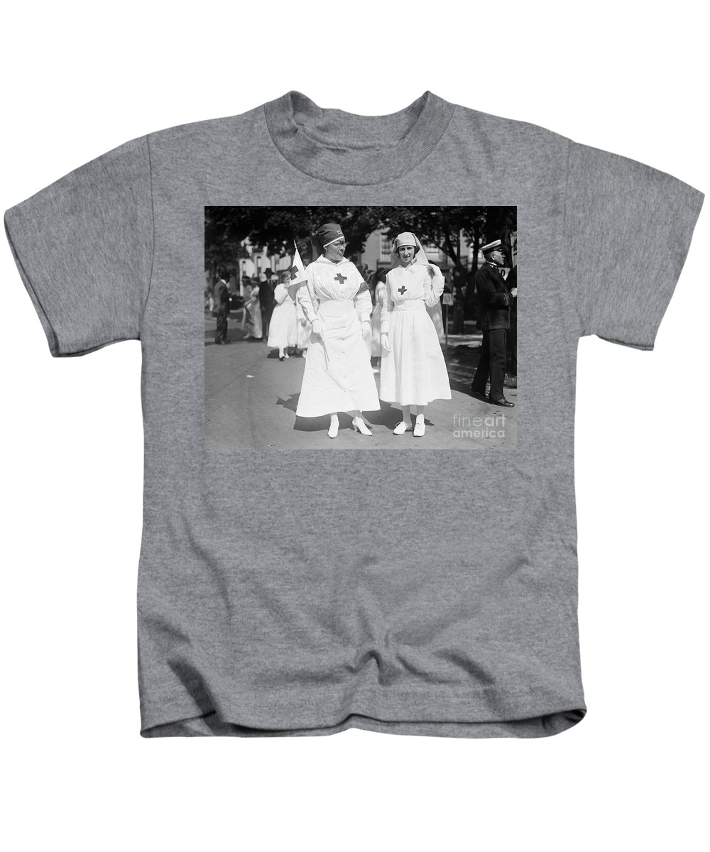1918 Kids T-Shirt featuring the photograph Red Cross Parade, 1918 by Granger