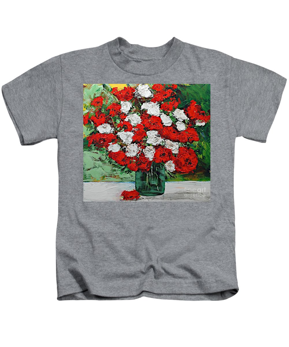 Landscape Kids T-Shirt featuring the painting Red Explosion by Allan P Friedlander