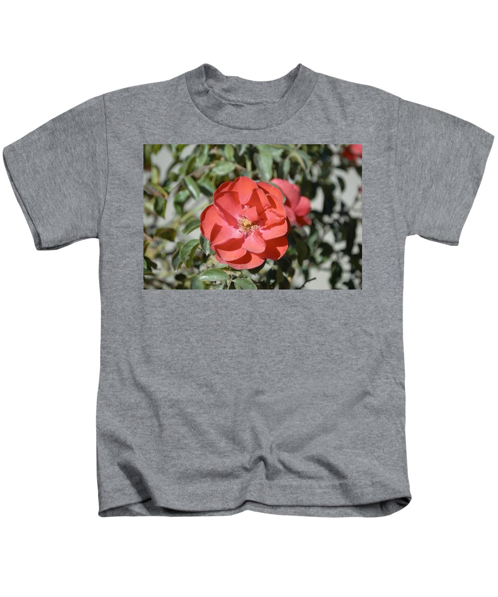 Barbara Snyder Kids T-Shirt featuring the digital art Red Flower II by Barbara Snyder