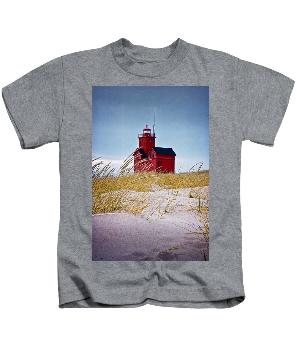 Art Kids T-Shirt featuring the photograph Red Lighthouse By Holland Michigan Known As Big Red by Randall Nyhof