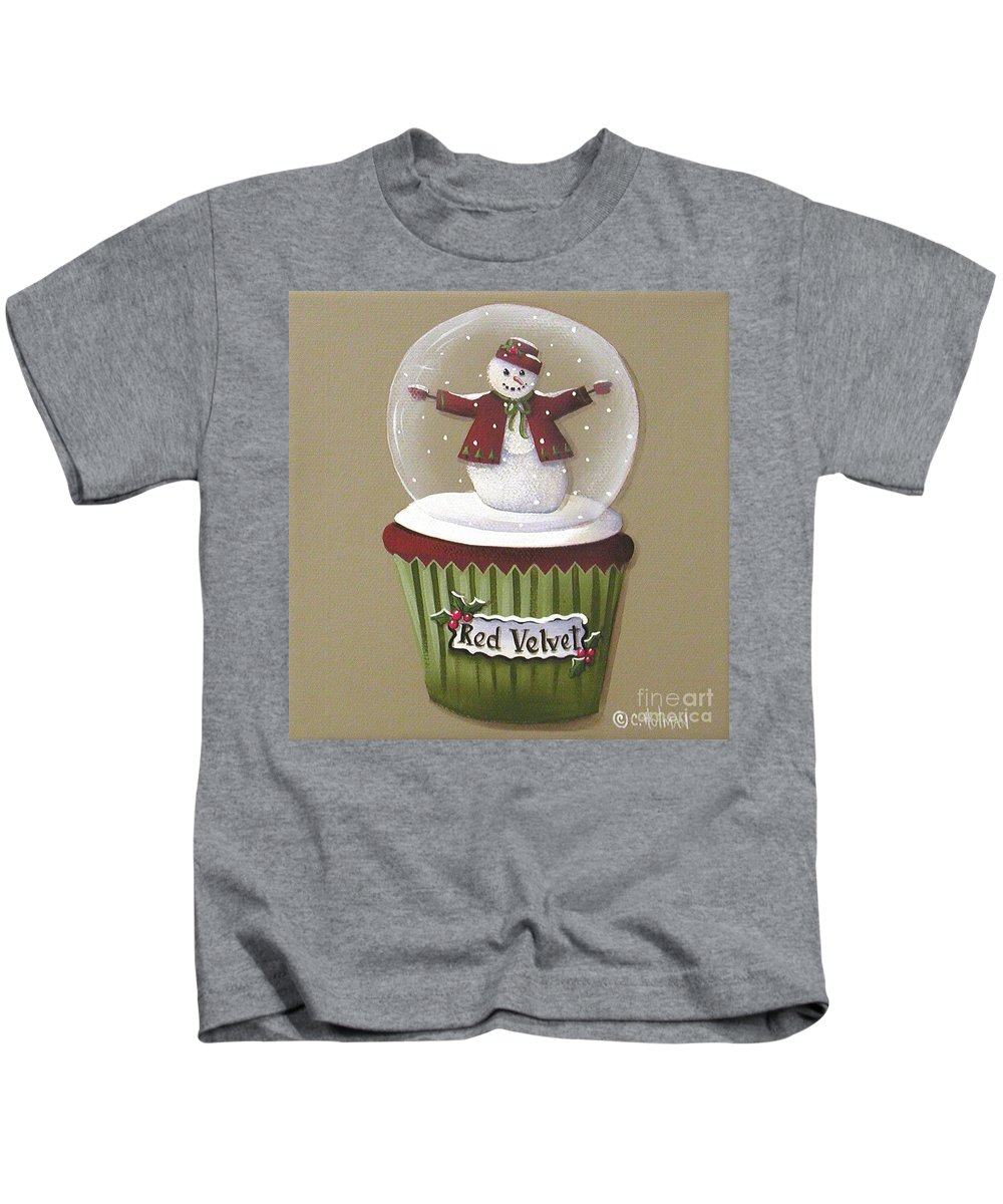 Art Kids T-Shirt featuring the painting Red Velvet Cupcake by Catherine Holman
