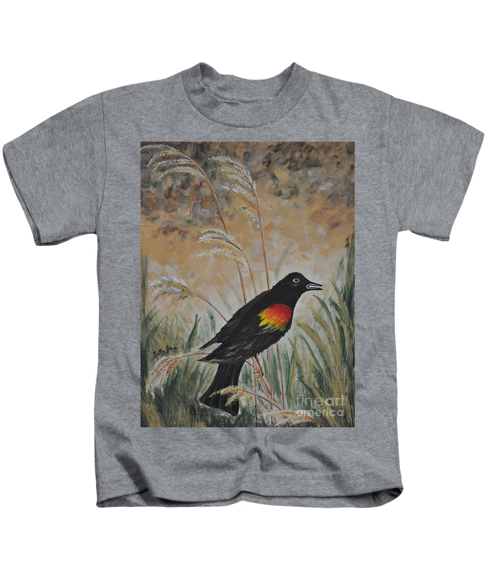 Red Kids T-Shirt featuring the painting Red Winged Blackbird by Sally Rice