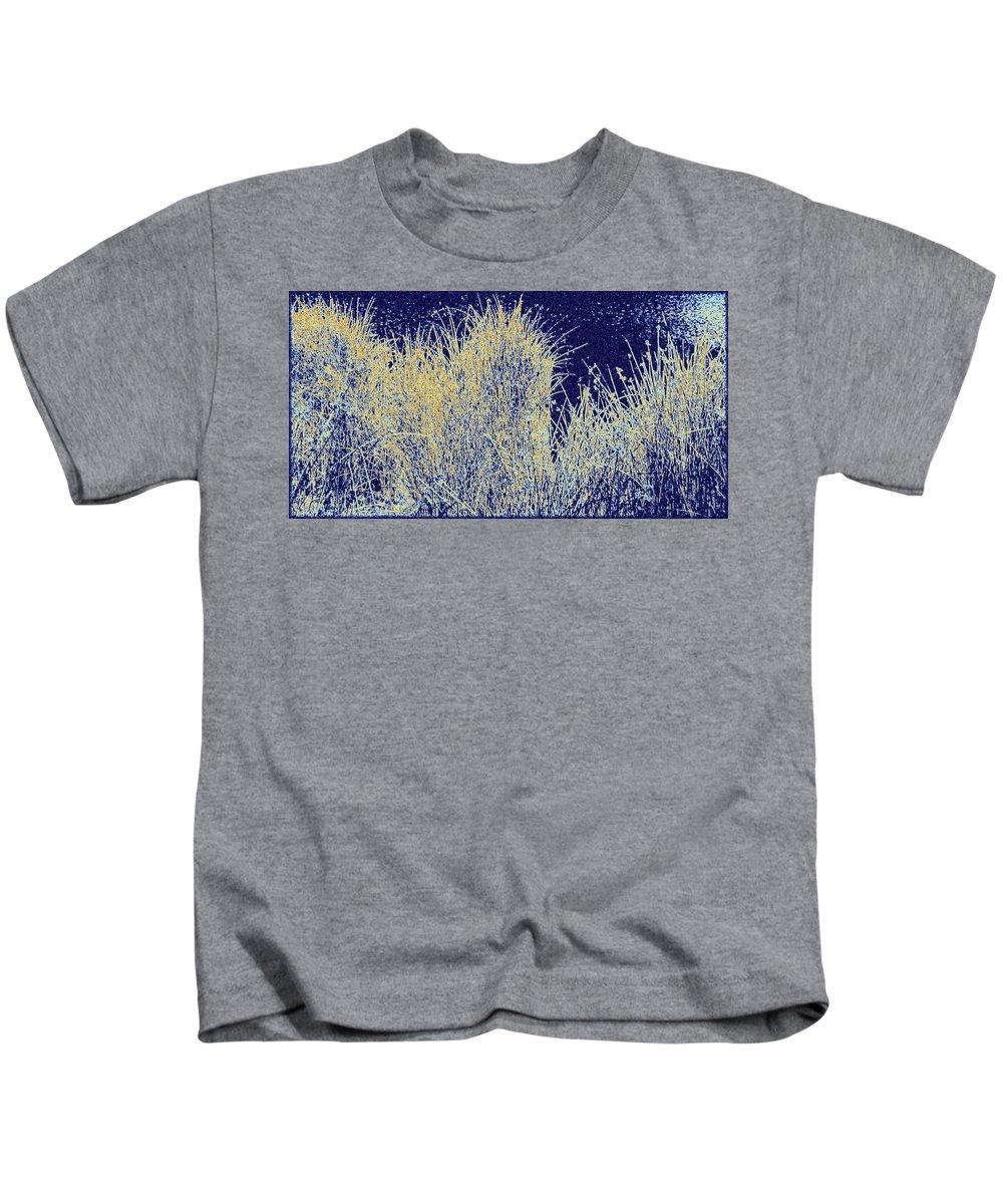 Reeds Along The Shore Kids T-Shirt featuring the digital art Reeds Along The Shore by Will Borden