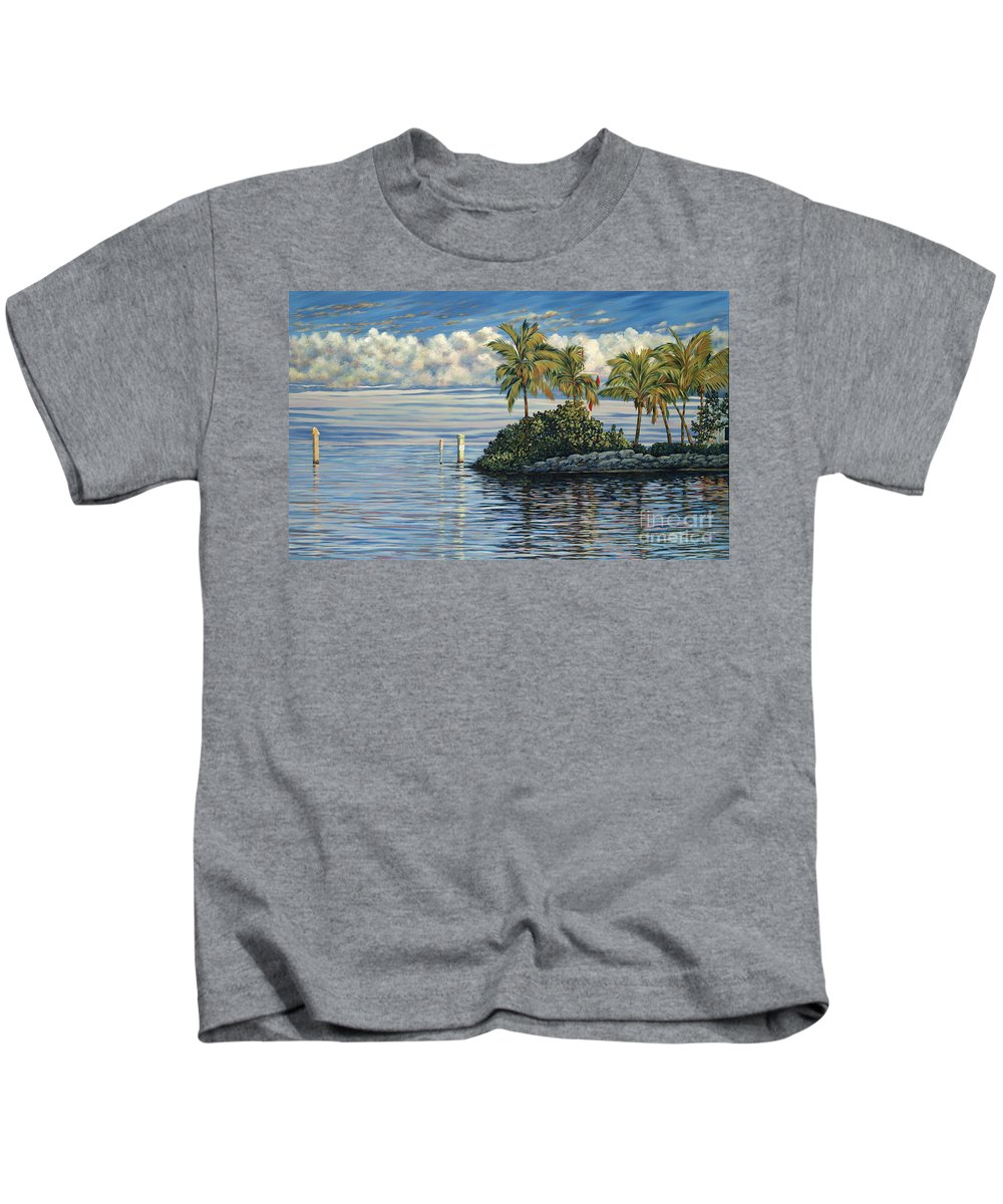 Ocean Reef Club Kids T-Shirt featuring the painting Reef Channel by Danielle Perry